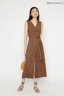 Warehouse Tan Culotte Jumpsuit