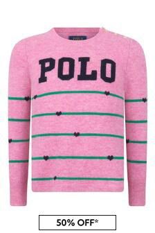 Ralph Lauren Kids Girls Pink Striped Merino Wool Polo Sweater