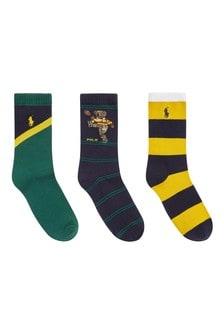 Kids Navy/Green Cotton Socks Three Pack