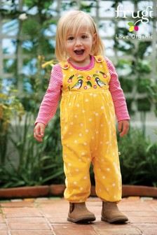 Frugi Organic Fine Cord Dungarees With A Bird Embroidery