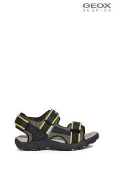 Geox Junior Boys R  Strada Black/Fluro Yellow Sandals
