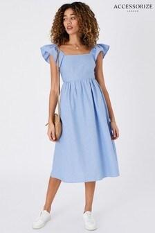 Accessorize Blue Frill Shoulder Midi Dress In Organic Cotton