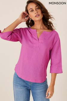 Monsoon Pink Daisy Plain Linen T-Shirt