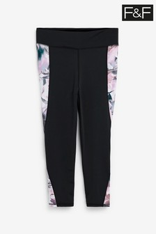 F&F Blue Floral Panelled Leggings