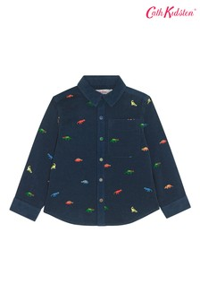 Cath Kidston® Blue Kids Tiny Dino Embroidered Shirt