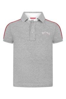 Boys Grey Cotton Pique Logo Print Polo Top