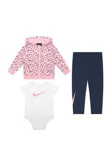 Nike Baby Girls Navy & Pink Cotton 3 Piece Set