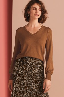 V-Neck Volume Sleeve Jumper