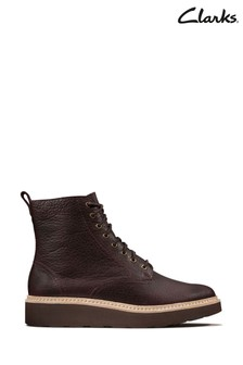 Clarks Burgundy Leather Trace Pine Boots