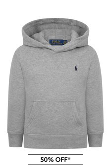 Boys Grey Fleece Hooded Sweater