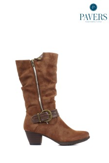 Pavers Tan Ladies Lightweight Calf Boots With Buckle