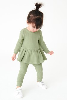 Long Sleeve Knitted Peplum Jogger Set (3mths-7yrs)