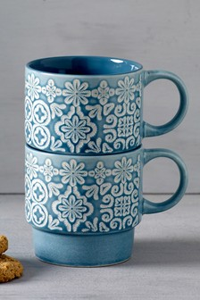 Set of 2 Embossed Stacking Mugs