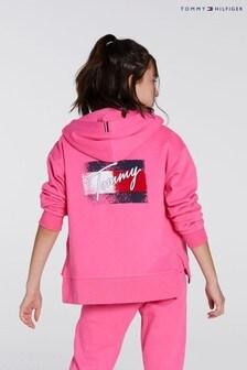 Tommy Hilfiger Pink Flag Print Zip Hoodie
