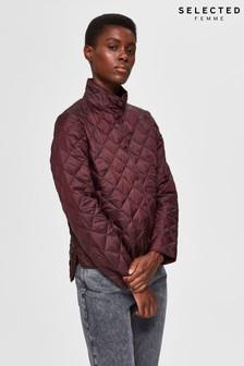 Selected Femme Burgundy Quilted Jacket
