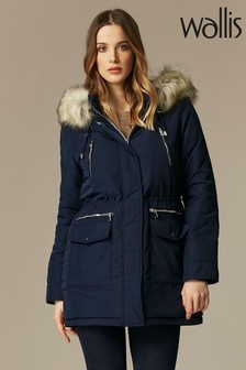 Wallis Navy Faux Fur Lined Hood Parka Coat