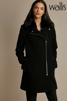 Wallis Black Faux Fur Top Biker Coat