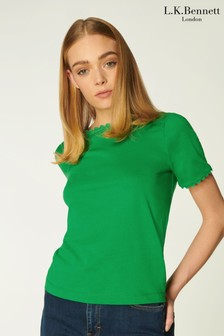 L.K.Bennett Green Dee Scallop Ric Rac Cotton T-Shirt