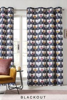 Retro Tulip Blackout Eyelet Curtains