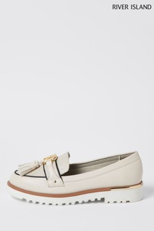 River Island Cream Branded Tassel Loafers