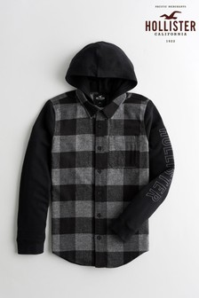 Hollister Black Checked Hooded Shirt