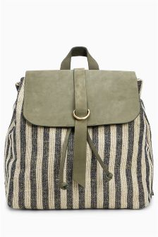 Striped Canvas And Suede Rucksack