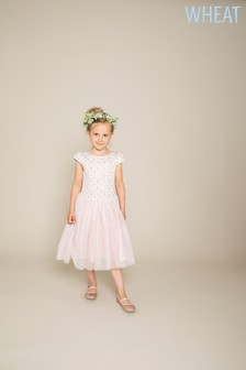 Wheat Pink Snow White Detail Dress