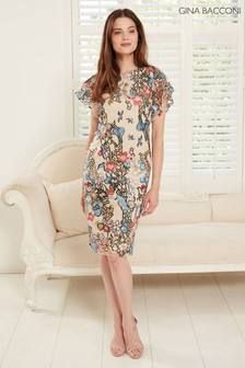 Gina Bacconi Blue Annamaria Sequin And Embroidery Dress