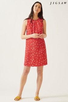 Jigsaw Orange Dandelion Pleat Neck Dress