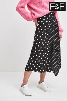 F&F Black Spot Stripe Skirt
