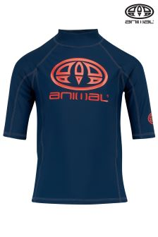 Animal Hiltern Navy Blue Short Sleeve UPF50+ Rash Vest