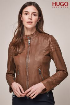HUGO Tan Leather Jacket