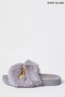 River Island Grey Swag Chain Faux Fur Sliders