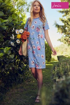 Joules Blue Liberty Print A-Line Jersey Dress