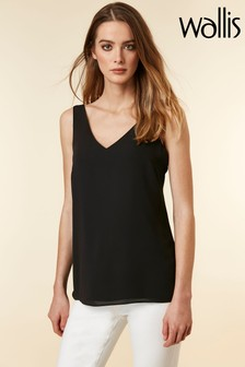 Wallis Black V-Neck Cami Top