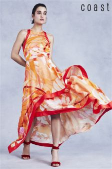 Pomarańczowa sukienka maxi Coast Jayda z nadrukiem
