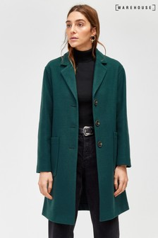 Warehouse Green Single Breasted Coat
