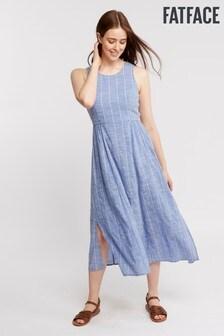 FatFace Blue Connie Chambray Stripe Dress