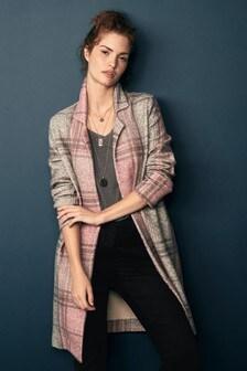 Manteau style cardigan à carreaux