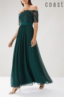 Coast Green Maddie Embroidered Maxi Dress
