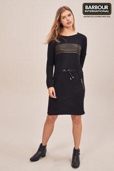 Barbour® International Black/Gold Stripe Dress