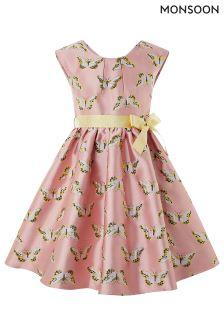 Monsoon Pink Papillon Jacquard Dress