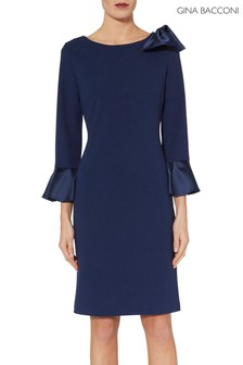 Gina Bacconi Blue Adrita Moss Crepe And Satin Dress