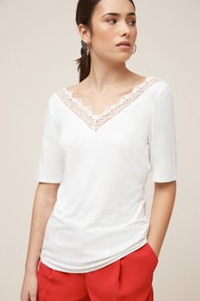 Lace Trim Short Sleeve Top