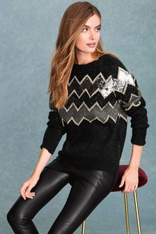 Zig-Zag Sequin Sweater