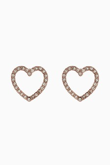 Diamanté Effect Heart Stud Earrings