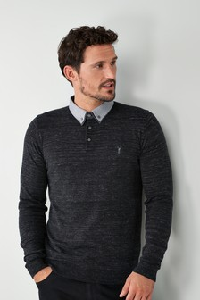 Woven Double Collar Knitted Polo