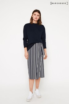 Warehouse Blue Stripe Tie Waist Midi Skirt