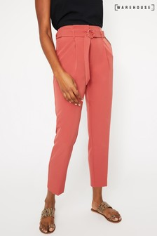 Warehouse Pink Crepe Belted Peg Trouser
