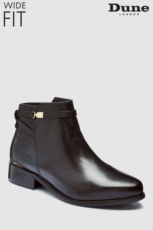 Dune Wide Fit Peppey Black Ankle Boot